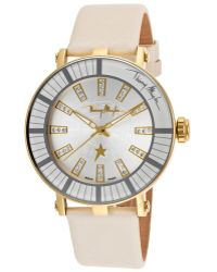 Thierry Mugler - Womens White Genuine Leather Silvertone Dial - Lyst