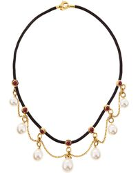 Assael - Rubystation Pearldangle Necklace White - Lyst