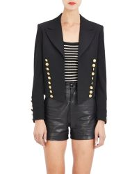 Saint Laurent Cropped Open-Front Military Jacket - Lyst