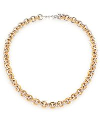 Tory Burch Sculpted Two-Tone Chain Necklace gold - Lyst