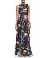 Alice + Olivia Elis Floral-print Silk Maxi Dress - Lyst