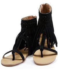 Koolaburra - Athena Fringe Sandal In Black - Lyst