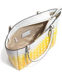 Coach Madison Eastwest Tote in Gingham Saffiano Leather - Lyst
