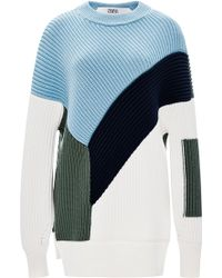 Prabal Gurung Color-Block Ribbed Wool Sweater multicolor - Lyst