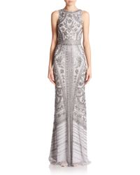 Theia Floral Beaded Column Gown - Lyst