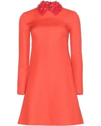 Valentino Wool and Silkblend Crepe Dress with Leather Collar - Lyst