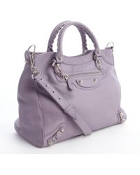 Balenciaga Light Purple Giant 12 Studded Braided Top Handle Shoulder Bag - Lyst