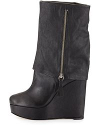 Alice + Olivia Yeardley Cuffed Leather Mid-calf Boot - Lyst