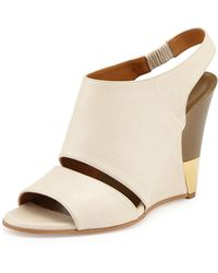 Chloé Leather Slingback Wedge - Lyst
