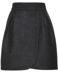 Miu Miu Blue Wool Skirt - Lyst