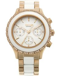 DKNY Women'S Chronograph White Ceramic And Rose Gold Ion-Plated Stainless Steel Bracelet 38Mm Ny8825 - Lyst