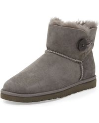 Ugg Bailey Button Short Boot Gray - Lyst