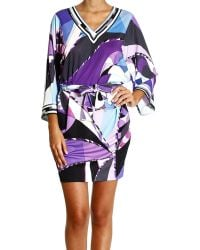 Emilio Pucci Dress Sleeve 34 Jersey Print Astana Tunic and Belt - Lyst