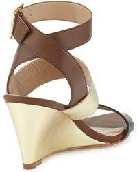 Andrew Stevens | Stacy Metallic Leather Wedge Sandal Blackgold 6 12 | Lyst
