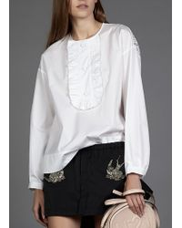 N°21 Ruffle Button Front Top White - Lyst