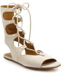 Chloé Lace-Up Flat Suede Sandals - Lyst
