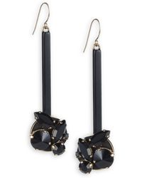 Marni | Strass Resin, Leather And Jeweled Accent Drop Earrings | Lyst