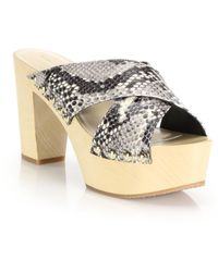 Diane von Furstenberg | Seville Snake-embossed Leather Platform Slide Sandals | Lyst