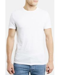 Topman Slim Fit Crewneck T-Shirt white - Lyst