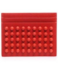 Christian Louboutin Kios Studded Leather Card Holder - Lyst