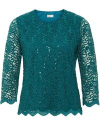 Eastex | Lace Scallop Sequin Top | Lyst