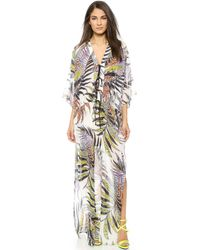 Just Cavalli Long Sleeve Silk Maxi Dress - White - Lyst