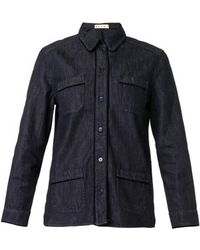 Marni Velvet-Trim Denim Shirt - Lyst