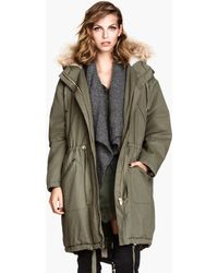 H&M Pilelined Parka - Lyst