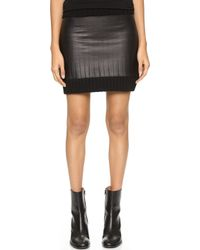 Vera Wang Collection - Ribbed Knit Skirt With Leather Trim - Charcoal/black - Lyst