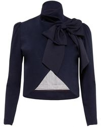 Alice + Olivia Addison Bow Collar Crop Jacket blue - Lyst
