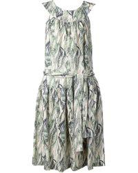 Suno Fern Print Dropped Waist Dress - Lyst