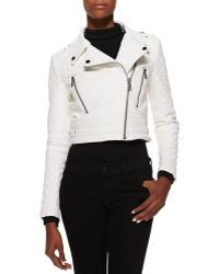 Andrew Marc Asymmetric Cropped Leather Moto Jacket - Lyst