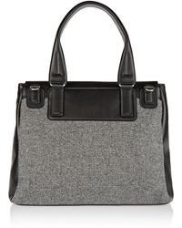 Givenchy Medium Pandora Flap Bag in Black Leather and Wool Flannel - Lyst