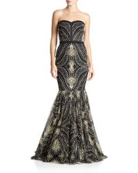Badgley Mischka Caviar-Beaded Strapless Gown - Lyst