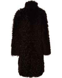 Proenza Schouler Curly Long Haired Fur Hooded Long Coat - Lyst