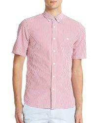 Burberry Brit Estes Seersucker Short-Sleeved Sportshirt pink - Lyst