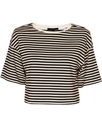 Tibi Ren Stripe Knit Crop Top beige - Lyst