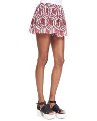 Thakoon Addition - Pleated Wide-Leg Lace-Print Shorts - Lyst