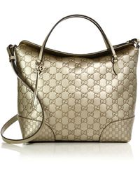 Gucci Bree Metallic Ssima Leather Top Handle Bag gold - Lyst