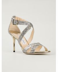 Jimmy Choo Silver 'Louise' Sandals - Lyst