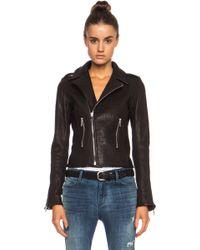 Rta Snake Embossed Biker Leather Jacket - Lyst