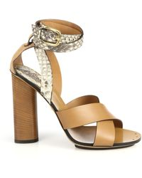 Gucci Python & Leather Stacked-Heel Sandals - Lyst