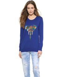 Markus Lupfer Rainbow Sequin Elephant Natalie Sweater - Congo Blue - Lyst