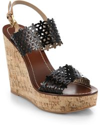 Tory Burch Daisy Cutout Leather Wedge Sandals black - Lyst