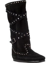 Minnetonka Tall Studded Strap Boot Black Suede - Lyst