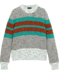 Jonathan Saunders Striped Ribbed Wool-blend Sweater - Lyst