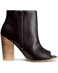 H&M Leather Ankle Boots - Lyst
