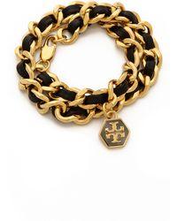 Tory Burch Leather Chain Wrap Bracelet Blackshiny Gold - Lyst