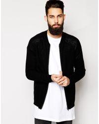 Asos Merino Knitted Bomber - Lyst
