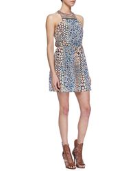 Cusp Printed Embellishedneck Dress Blue Ptrn Large - Lyst